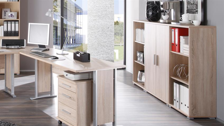 Büroschrank Highboard OFFICE LINE Sonoma Eiche 2-türig