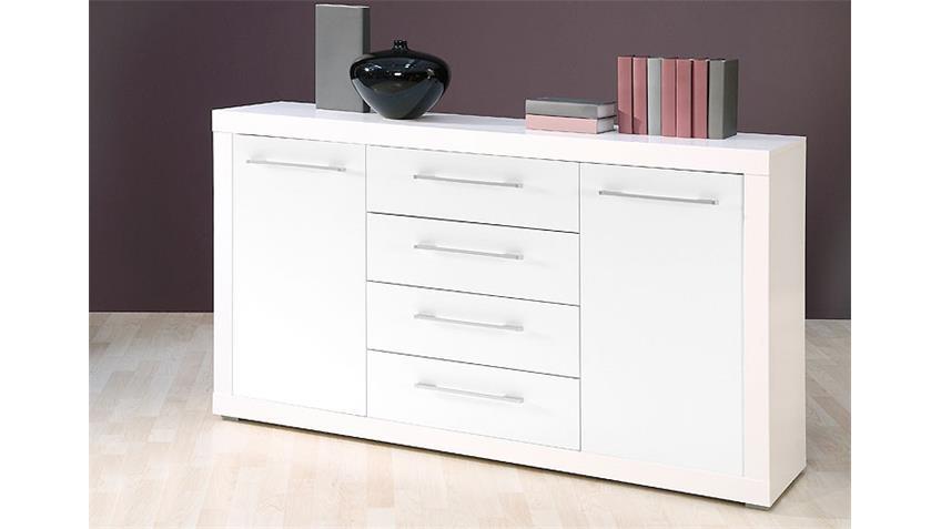 Sideboard CABO Kommode in weiß Glanz Dekor 155x88 cm