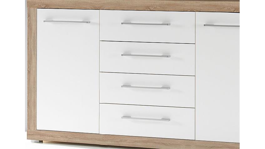 Sideboard CABO Eiche Sonoma sägerau weiß Glanz 155x88 cm