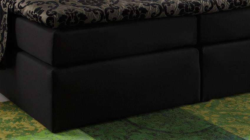 Boxspringbett ATLANTA Stoff schwarz 160x200 cm mit Topper