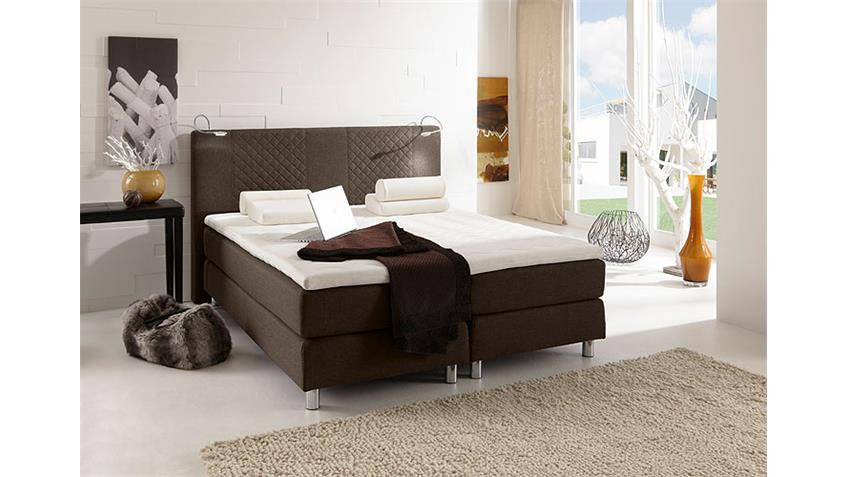 Boxspring Bett BOSTON Doppelbett in braun 140x200 cm