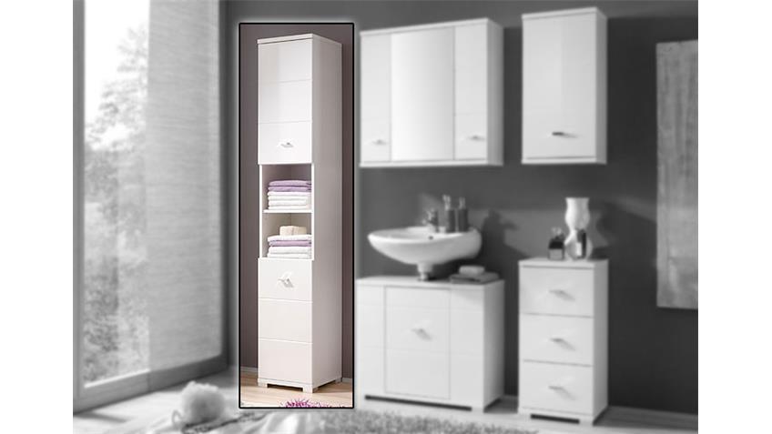 Hochschrank Badezimmer Schrank in Hochglanz weiß 2-trg