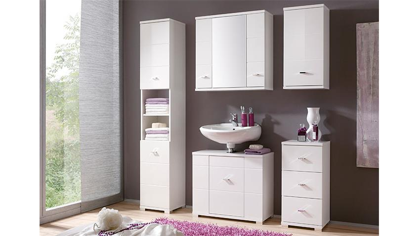 Schrank MOGO Badezimmerschrank Regal in weiß Hochglanz