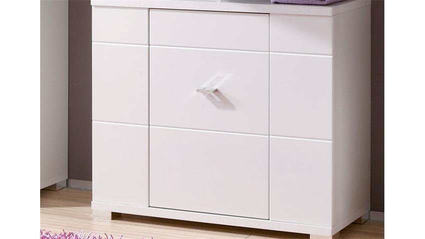 Waschbeckenunterschrank Badezimmer MORNING in Hochglanz weiß