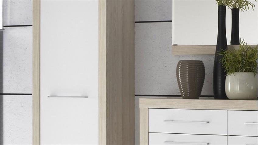 Garderobe CREMA Set 4-teilig in Sonoma Eiche Sägerau und weiß