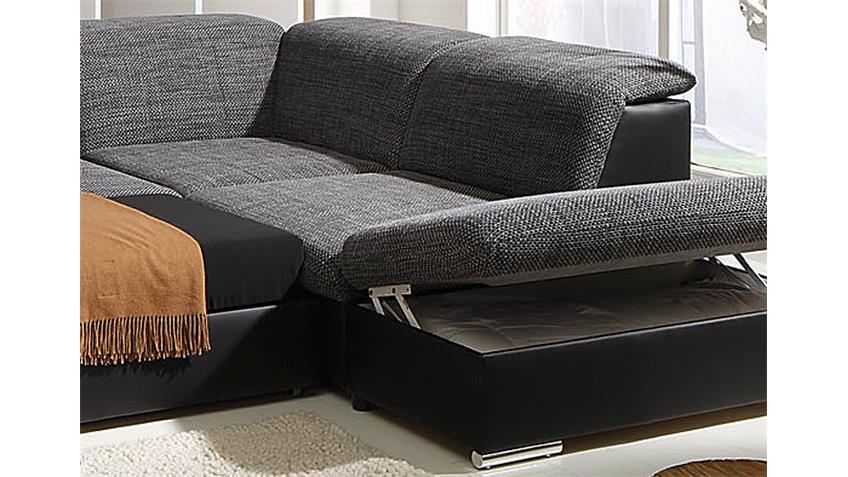 wohnlandschaft move 1 schwarz grau inkl funktionen ot r. Black Bedroom Furniture Sets. Home Design Ideas