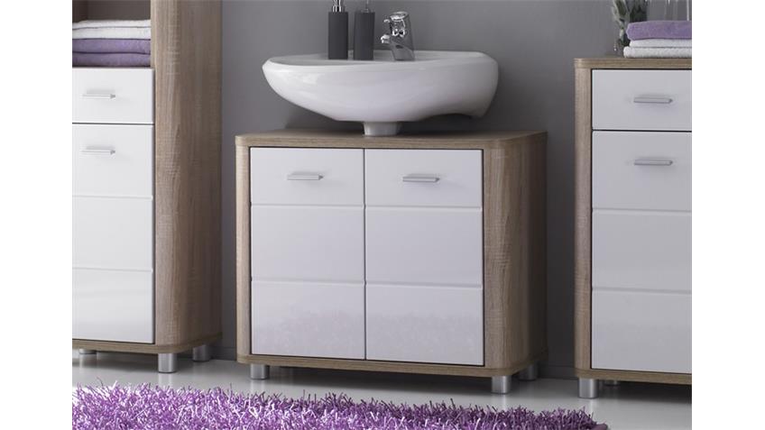 Waschbecken-Unterschrank VITAL Sonoma Eiche und weiß