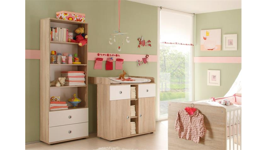 babyzimmer wiki 4 tlg sonoma eiche s gerau und wei. Black Bedroom Furniture Sets. Home Design Ideas