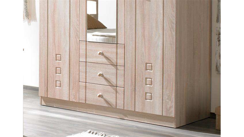 Kleiderschrank CURANUM Eiche Sonoma mit Spiegel 135 cm