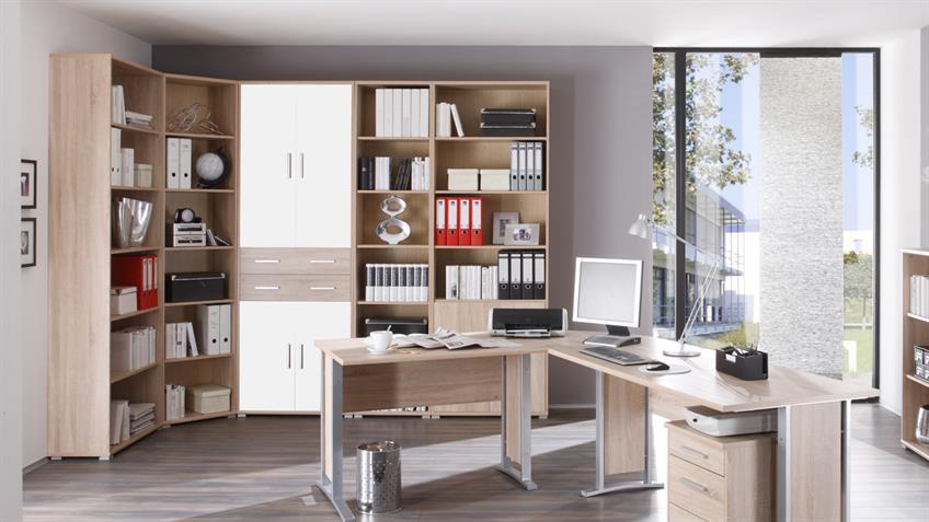 aktenschrank office line sonoma eiche wei. Black Bedroom Furniture Sets. Home Design Ideas