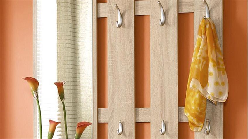 Garderoben Set Petra in Eiche Sonoma und Weiß mit Spiegel
