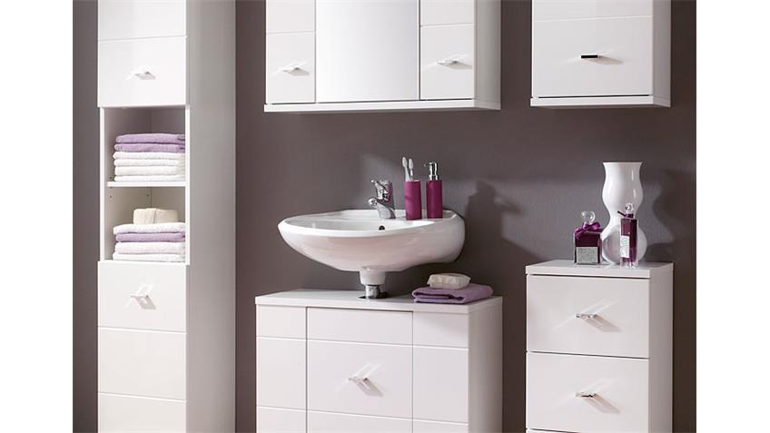 Badezimmer MORNING 5-teilig weiß Hochglanz Hochschrank Spiegelschrank