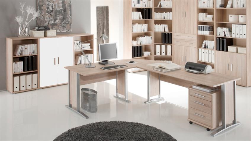 Schrank Office Line Eiche Sonoma weiß 2-türig