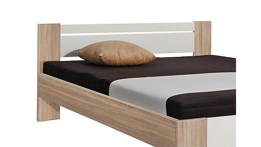 bett vega eiche sonoma wei 140x200 cm inkl rollrost und. Black Bedroom Furniture Sets. Home Design Ideas