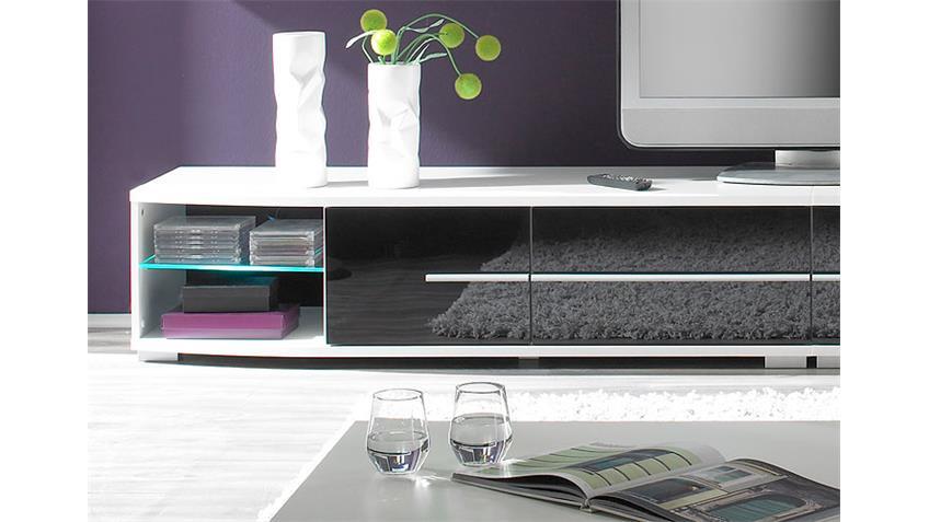 Wohnwand BLACK STAR Schwarz und Weiß inkl. LED