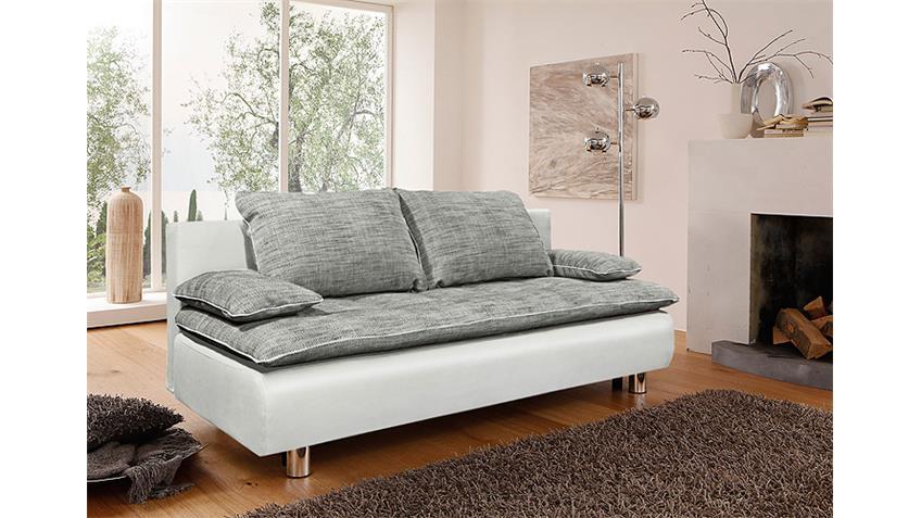 Schlafsofa PANEM Sofa Funktionssofa in weiß und grau
