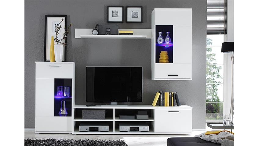 Wohnwand FRONTAL Anbauwand Wohnzimmer in weiß inkl. LED