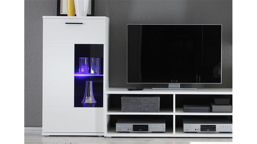 Wohnwand Frontal Anbauwand in Weiß inklusive LED