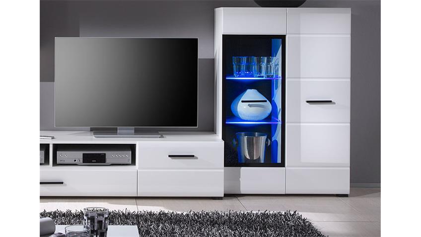 Wohnwand ATTAC 2 Anbauwand in weiß Hochglanz mit LED