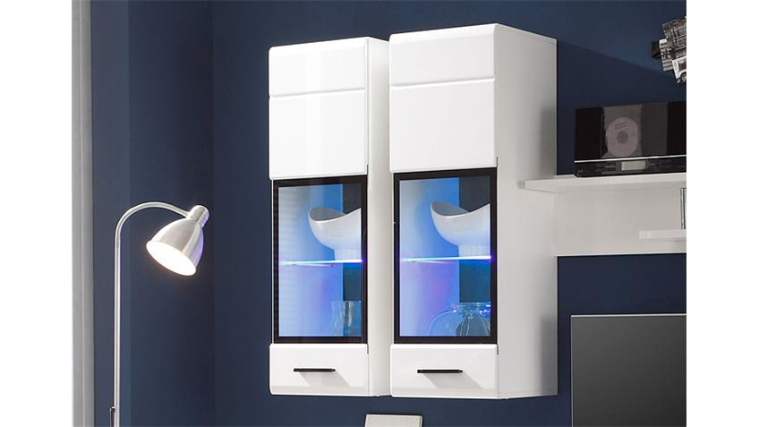Wohnwand ATTAC 4 Anbauwand in weiß Hochglanz mit LED
