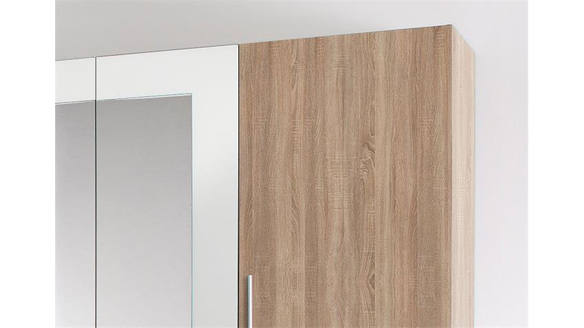 Kleiderschrank MARTINA Sonoma Eiche Sägerau und Weiß 228 cm