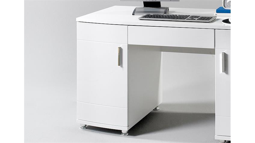 Schreibtisch LUCHS Computertisch PC Tisch in weiß glänzend
