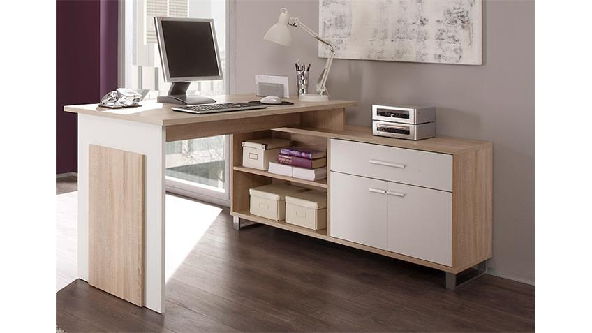schreibtisch manager mit sideboard in sonoma eiche und wei. Black Bedroom Furniture Sets. Home Design Ideas