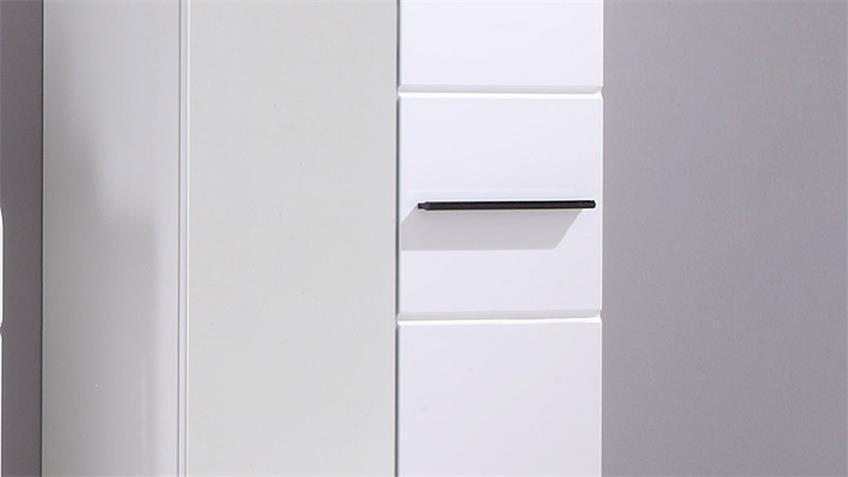 Garderobenschrank DERBY weiß Hochglanz mit Spiegel
