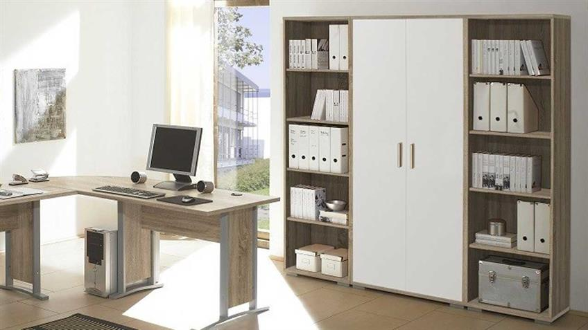 Aktenschrank Office Line in Sonoma Eiche und weiß 2-türig