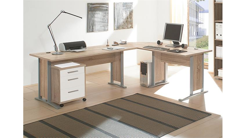 Winkelschreibtisch OFFICE LINE Sonoma Eiche und weiß mit Rollcontainer