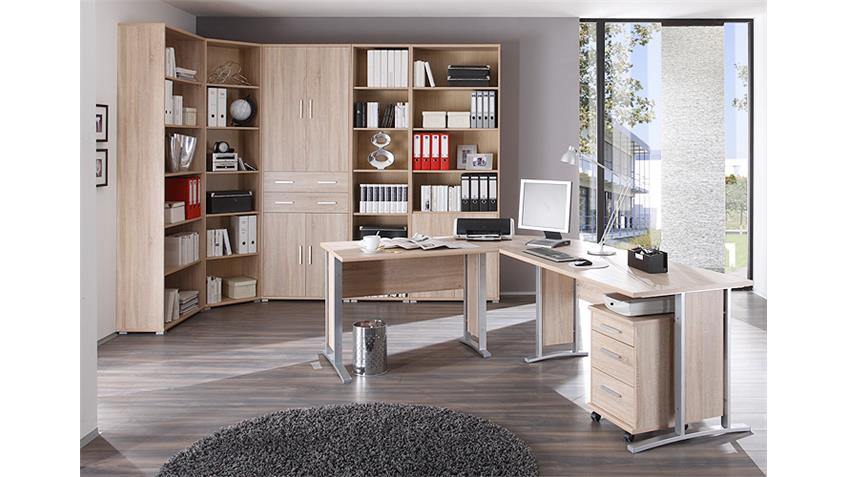 arbeitszimmer b ro set 2 office line schreibtisch regal sonoma eiche. Black Bedroom Furniture Sets. Home Design Ideas