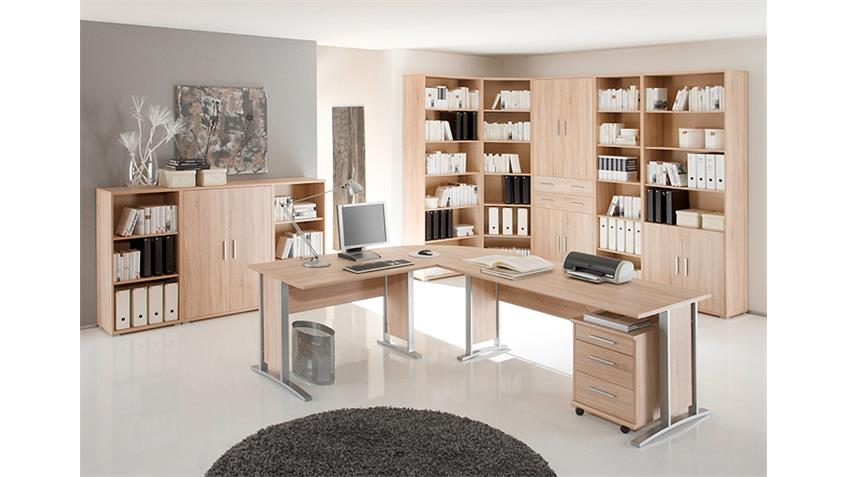 Arbeitszimmer Büro Set 2 OFFICE LINE Schreibtisch Regal Sonoma Eiche