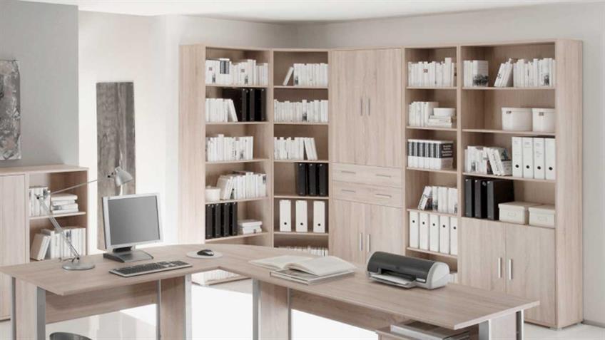 Büroregal OFFICE LINE Sonoma Eiche 4 Fächer und 2 Türen