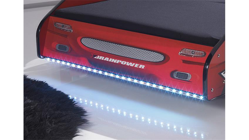 Autobett METEOR MDF rot Hochglanz inkl. LED 90x200 cm