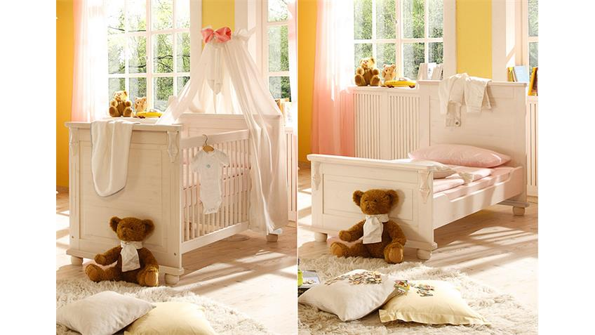 Babyzimmer Set LARA II Kiefer Massiv Weiß Wachs, 3-teilig