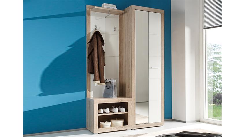 Garderoben Set CAN CAN 2 Sonoma Eiche Sägerau Weiß Glanz