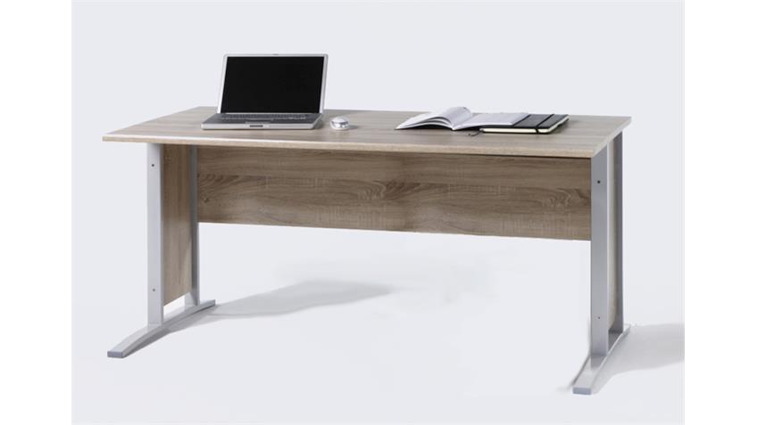 Schreibtisch office line in sonoma eiche und grau 150x70 for Schreibtisch in grau