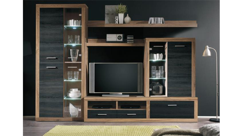 wohnwand can can 5 nussbaum satin touchwood inkl led. Black Bedroom Furniture Sets. Home Design Ideas