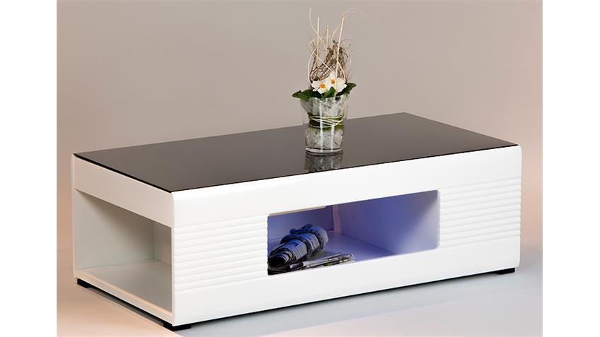 Couchtisch PANDA in weiß Hochglanz Glas schwarz 120x63 cm