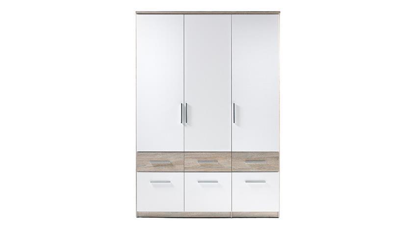 Kleiderschrank BOX 3 Drehtüren weiß Sonoma Eiche 135 cm