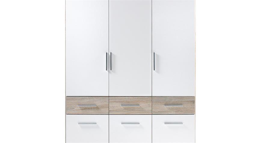 Kleiderschrank BOX 3 weiß Sonoma Eiche Drehtüren 135 cm