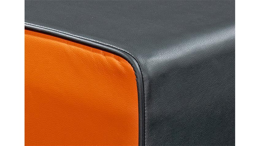 Hocker THEO Sitzhocker Polsterhocker in schwarz und orange