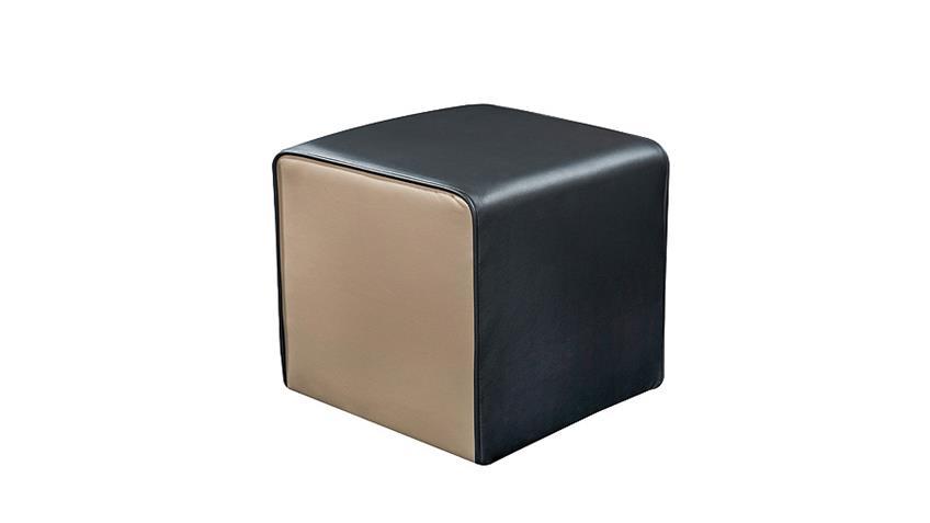 Hocker THEO Sitzhocker Polsterhocker in schwarz und Schlamm