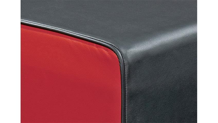 Hocker THEO Sitzhocker Polsterhocker Würfel schwarz und rot