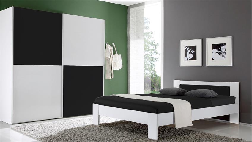 Bett Vega Futonbett weiß schwarz mit Rollrost und Matratze 140x200 cm