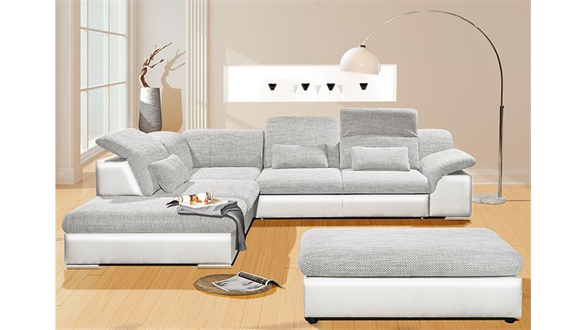 Wohnlandschaft MOVE 1 weiß grau inkl. Kissen und Funktionen
