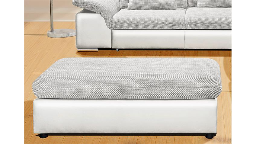 Hocker MOVE Sitzhocker Polsterhocker weiß und grau hellgrau