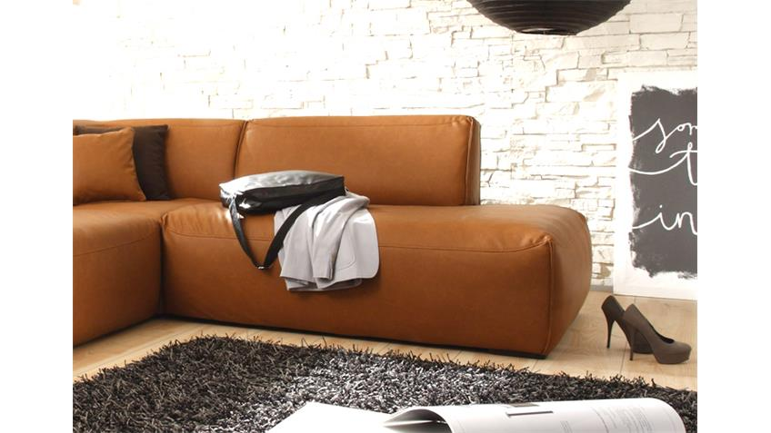Ecksofa MUSTANG Eckgarnitur Sofa in Cognac Recamiere rechts