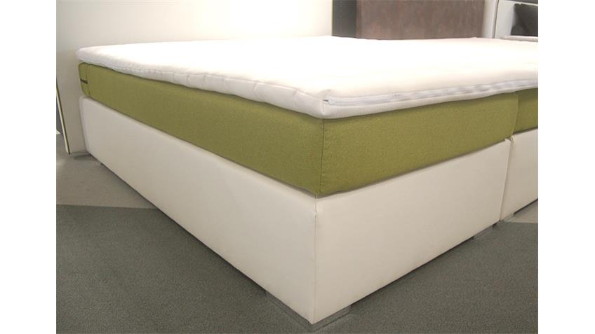 Boxspring Bett NEW YORK 180x200 Lederlook Weiß Stoff Grün