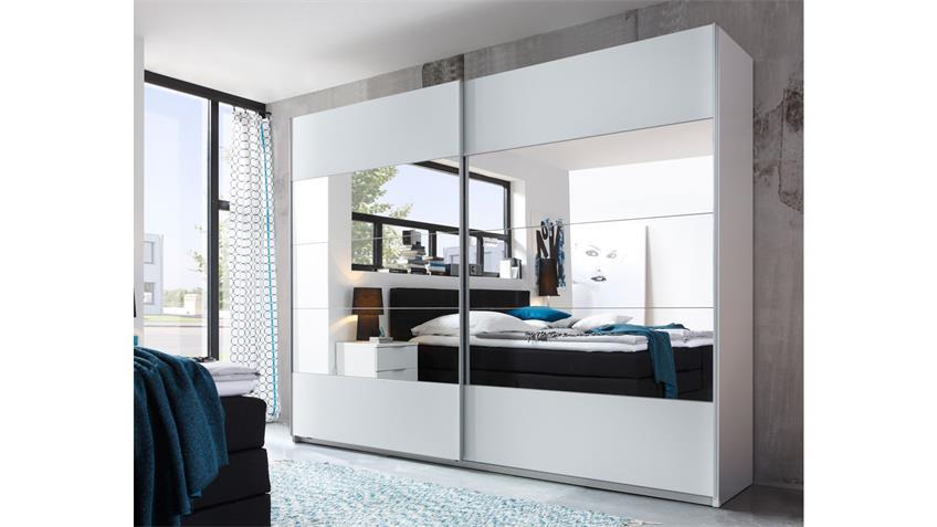 Schwebetürenschrank PENTA weiß Spiegel 270 cm